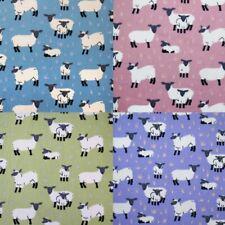 100% Cotton Poplin Fabric Spring Sheep & Lambs Farm Animals Flock 145cm Wide