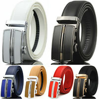 Men's Genuine Leather Dress Belt Exact Fit Automatic Buckle Ratchet Belt