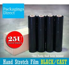 4x Stretch Wrap Film 500mm X 400m - Black 25u Pallet Carton Hand Saver Included