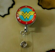 Wonder woman Metal Retractable Badge Reel with CHAIN Pull - Belt Clip ID Holder