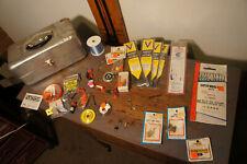 Estate Lot Vintage Jc Higgins Fly Fishing Tackle Box Vtg Angler Gear Hooks Flies