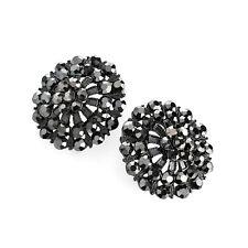Ladies Hematite Glass Coloured Round Earrings Fashion Jewellery Statement