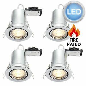 Set of 4 x Polished Chrome LED GU10 Tilt Fire Rated Downlights Including Bulbs