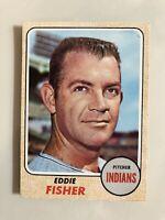 1968 Topps # 418 Eddie Fisher Cleveland Indians Original Baseball Card EX / Mint