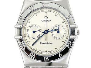 OMEGA CONSTELLATION Manhattan Day-Date Steel Quartz Men Used Watch Year 1985