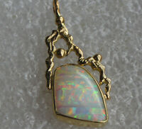 Hottest Multicolor Stripe Opal 7.2 Karat Anhänger 18 Karat Gelbgold Unikat