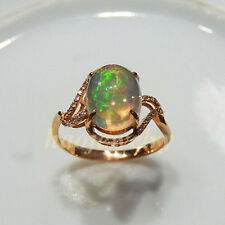 Beautiful 1.72CT Natural Colorful Opal Solid 14K Rose Gold Diamond Ring