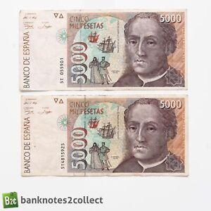 SPAIN: 2 x 5,000 Spanish Peseta Banknotes.
