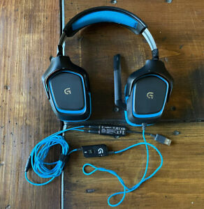 Logitech G430 Black/Blue Over the Ear Gaming Headset, with 3.5mm to USB adapter
