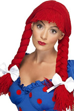 Rag Doll Wig, Red, Pigtails with a Fringe and Bows  AC NEW