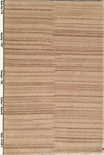 Natural Beige Hand-Knotted Rug 4' x 6' Striped Modern Tibet Carpet