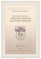 Germania 1986 1000th anniversario di WALSRODE Primo giorno di pagina in buonissima condizione