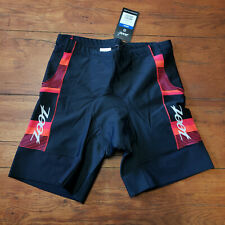"ZOOT Men's XL Tri Shorts Black Red 7"" Padded Swim Bike Run Triathlon X-Large"