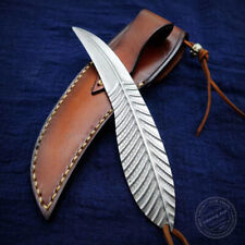 FEATHER KNIFE HANDCRAFTED KNIVES FIXED BLADE DAMASCUS KNIFE FULL TANG LEAF ART