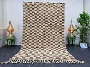 "Handmade Moroccan Beni Ourain Rug 5'3""x8'5"" Checked Berber White Brown Wool Rug"