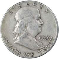 1960 50c Franklin Silver Half Dollar US Coin G Good