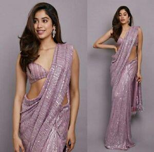 Indian Bollywood Women Designer Sari Saree Party Wear Onion Sequin Sari Blouse