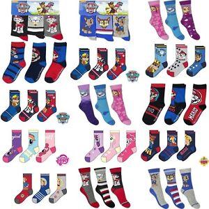 2-3 pairs Boys Girls Kids Character Socks UK 3-5.5 6-8 9-12 12.5-2 3-5 EU 22-38