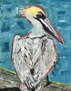 PATRICIA NOLAN-BROWN TROODS Original Oil Painting Pelican Bird On Water