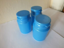 Hard Plastic Cylindrical Containers with Hinge Top Lid - Pack of 3 (Blue) £6.99
