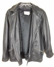 Coldwater Creek Leather Motorcycle Jacket SzL Womens Zip Out Vest Lambskin Lined