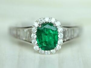 18k Solid White Gold Oval 1 carat Emerald with Diamond Baguettes Engagement Ring