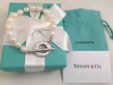 "Tiffany & Co Sterling Silver Toggle Freshwater Pearl Bracelet 7.5""."