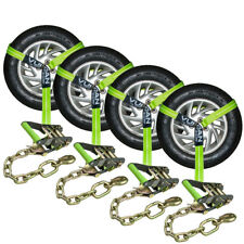 Vulcan HI VIZ Tire Lasso and Chain Ratchet Car Tie Down Kit Flatbeds Autohaulers