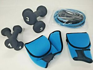 LOT - Neoprene Dumbbells, 1 Lb & 3 Lb Pairs, 3.4 Lb Boxing Hand Weight, Res Band