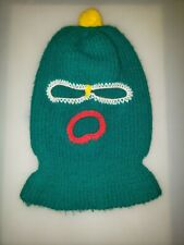 Vintage Green Knit Full Face Ski Mask Winter Gear Knitted Yellow Top One Size