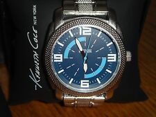 KENNETH COLE REACTION Men's Watch Silver Tone STAINLESS STEEL 45mm Blue Dial