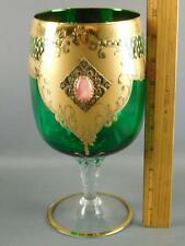 HOLLYWOOD REGENCY VENETIAN GLASS HEAVY GILT CABOCHON FILIGREE COMPOTE VASE
