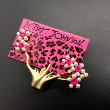 Betsey Johnson Pearl Pink Enamel Flower Tree Charm Woman Brooch Pin