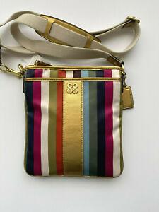 COACH 46801 Julia Stripes Legacy Swingpack Crossbody Purse Multicolor New
