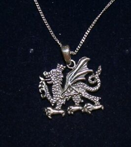 "Sterling Silver Dragon Pendant With 18"" Chain & Box"