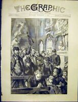 Original Old Antique Print Westminster Abbey Sunday Service 1887 19th