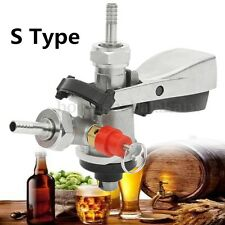 Stainless Steel S-Type Keg Coupler Homebrew Craft Wine Beer Dispenser +Air Valve
