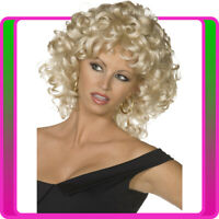 Ladies Deluxe Grease Sandy Wig Blonde Curly Costume Last Scene 50s 60s Disco