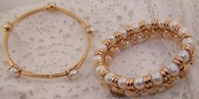 2 - MILOR ITALY GOLD BRONZE BRACELET - Double Row Honora Pearls + 5 Pearl Bangle