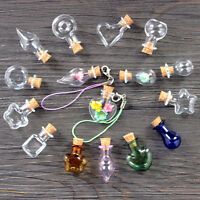 New Cute Clear Mini Wish Bottle Pendant Empty Cork Glass Hand-Blown Vial Necklac