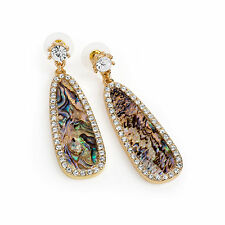 Gold Colour Crystal Blue Shell Effect Oval Drop Earring Ladies Jewellery