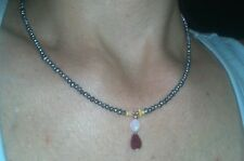 Blue seed pearls, fire Opal and Genuine Ruby necklace pendant solid 14k gold
