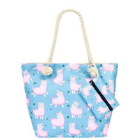 Llama And Cactus Printed Top Handle Tote Bags with Matching Signature Coin Pouch