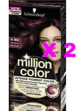 LOT 2 SCHWARZKOPF MILLION COLOR COLORATION TEINTURE COULEUR 4-89 ACAJOU PRECIEUX