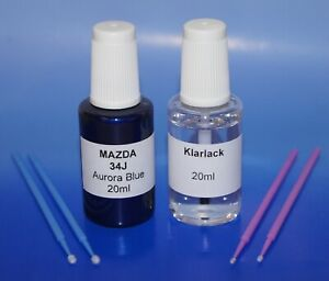 Lackstift-Set Mazda 34J Aurora Blue Mica met., 2 x 20ml + 4 Retuschierstäbchen