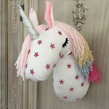 3D Fabric Unicorn Head Wall Bust Sculpture Rainbow Star Gilrs Bedroom Decoration