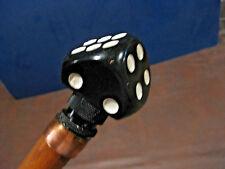 Mw.523M: Vintage Black Dice w/ White Dots On Top Of Ash Walking Stick Cane