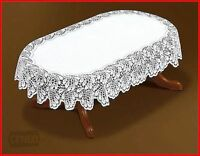 """Oval Lace Tablecloth White Wedding Table Covers 47""""x63 Tea Cloth Gift Present"""