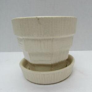 "Vintage 1950's McCoy Art Pottery White Basket Weave 4"" Flower Pot w/ Saucer"