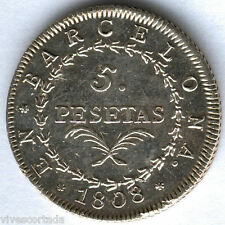 Jose Napoleon 5 Pesetas Barcelona 1808 @@ E.B.C. + @@